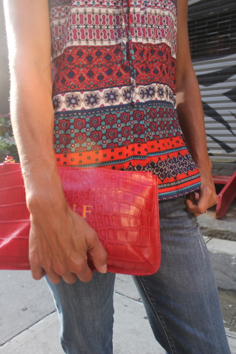 red talbots bag