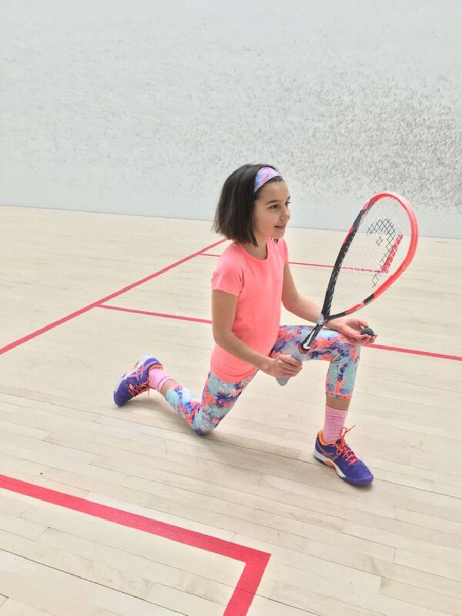warming up before squash