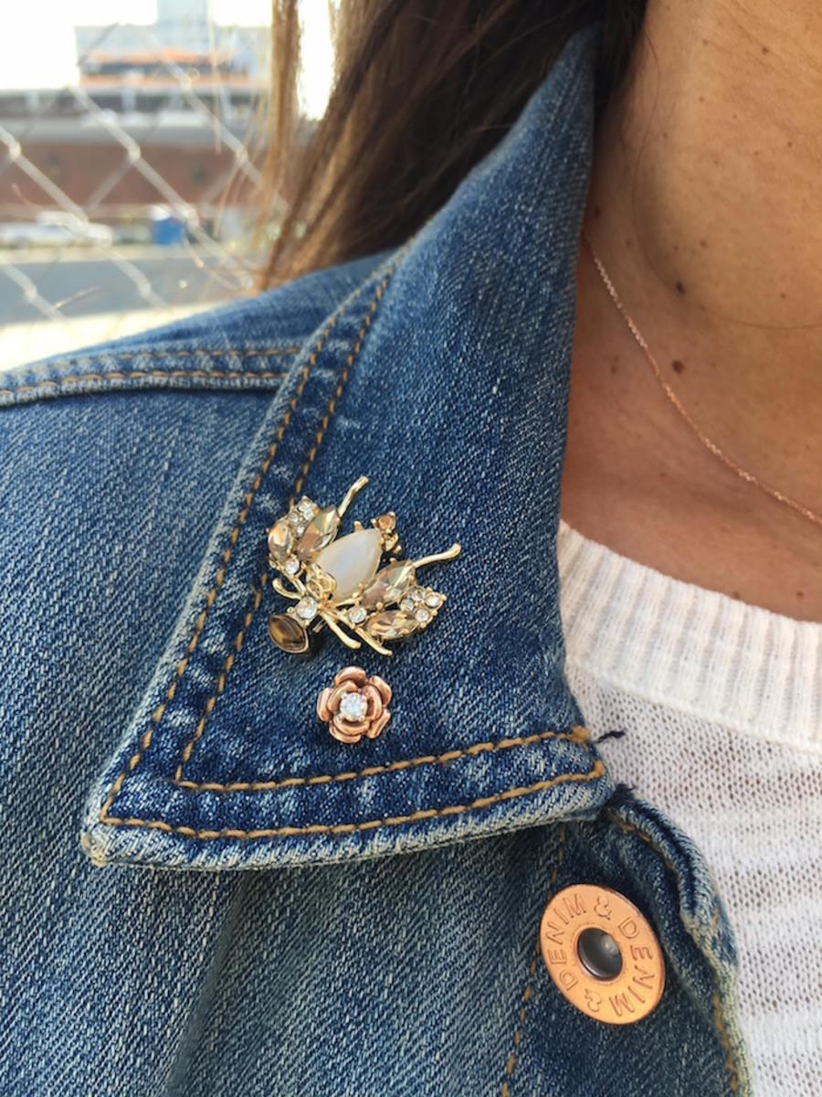 denim jacket with pins