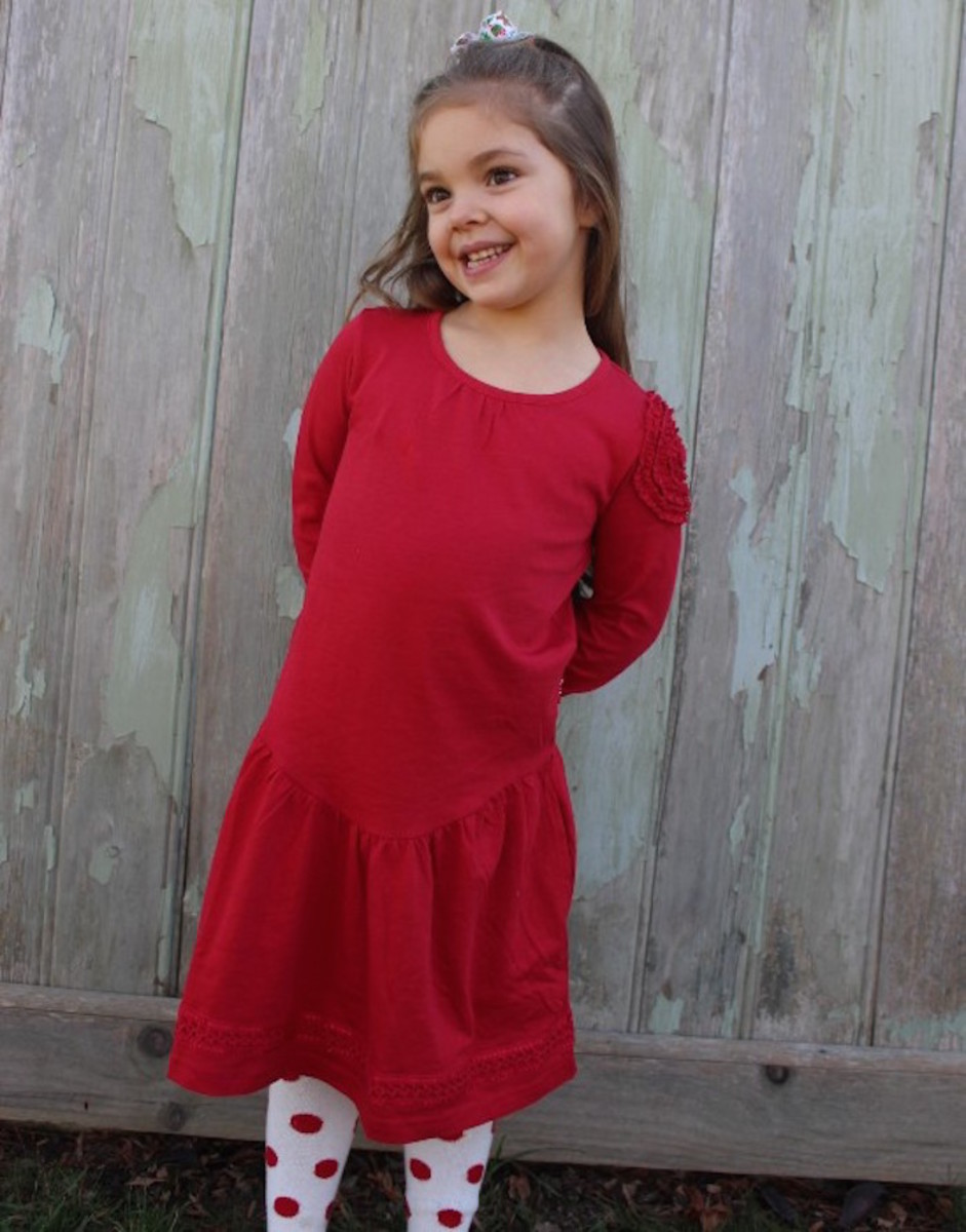 red dress, le top, holiday dresses, le top, clothing for kids
