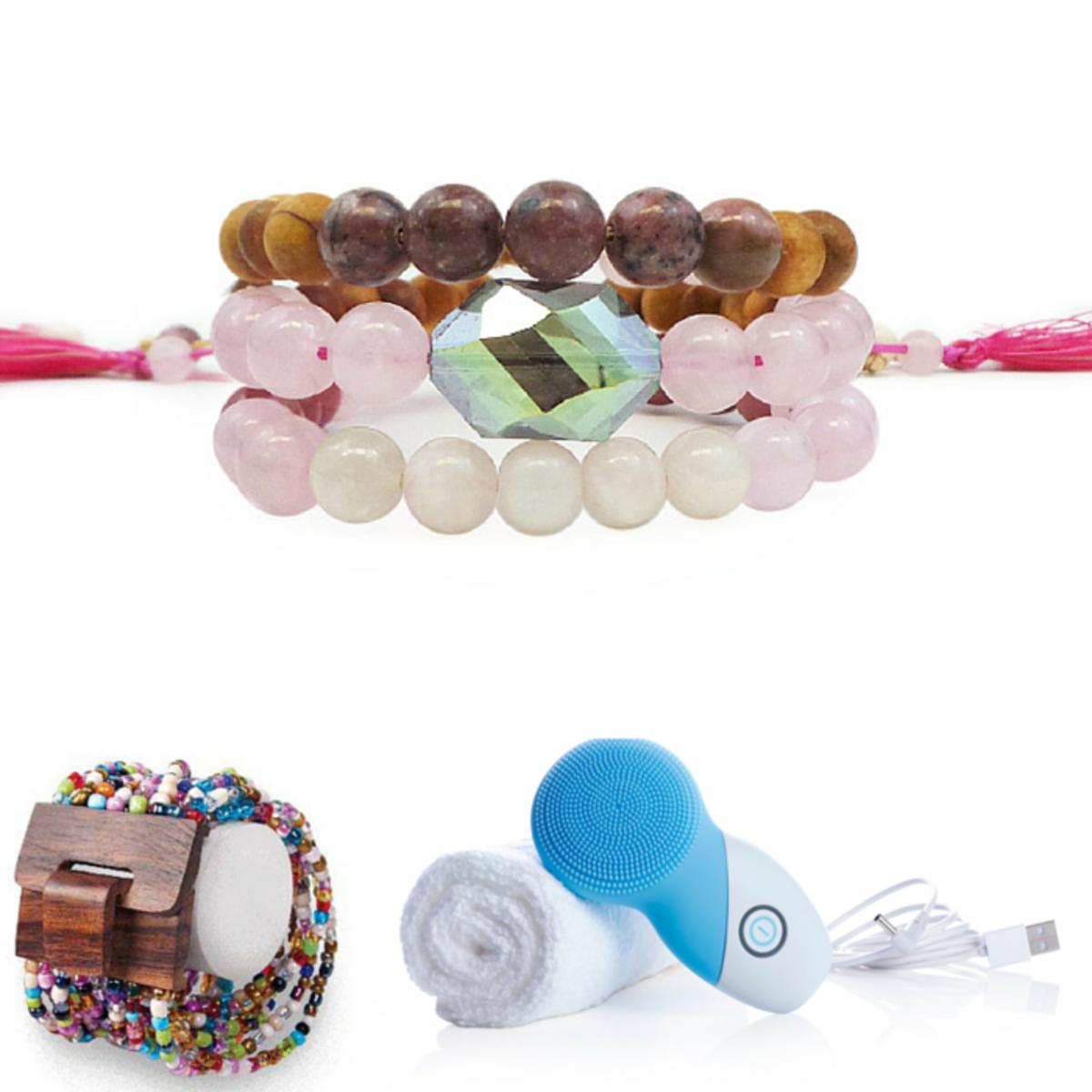 mango wood beaded bracelet, instrumental beauty, tiny devotions