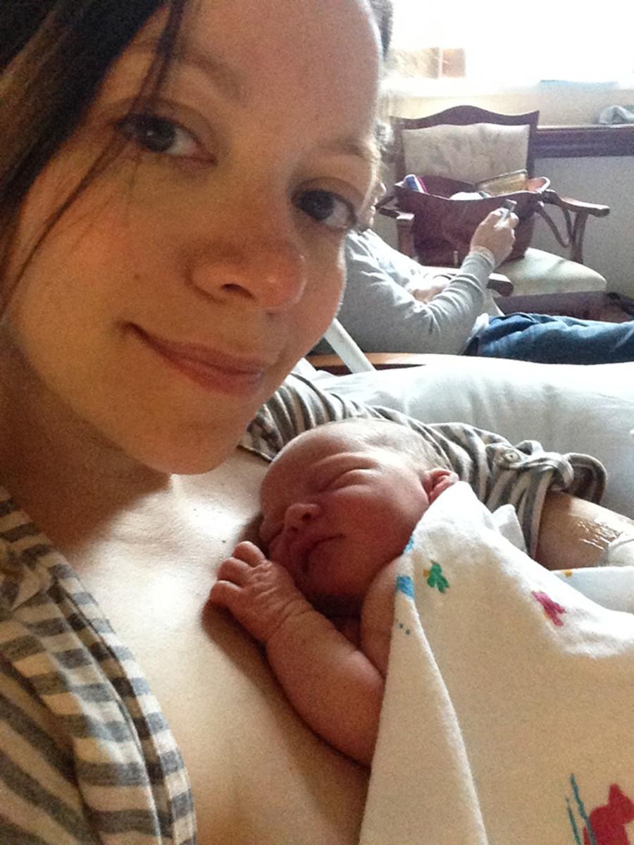 newborn hug