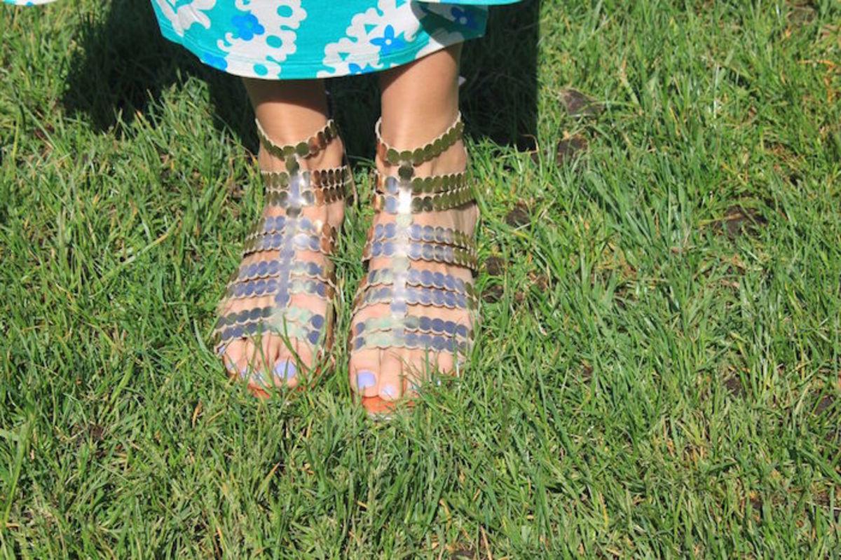boden golden sandals