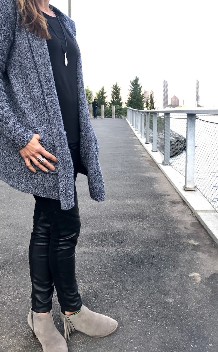 fringe bootie with leggings