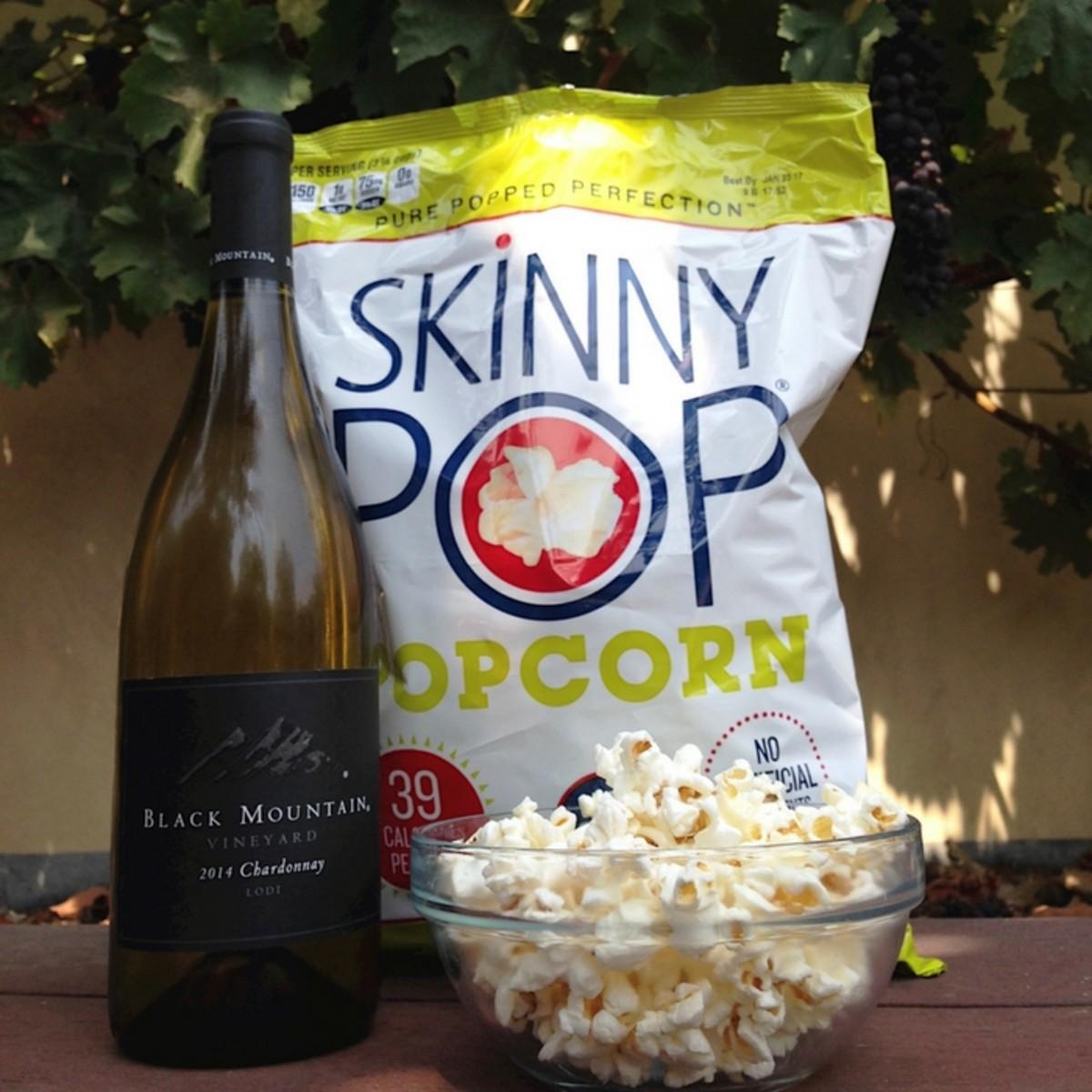 SkinnyPop popcorn + wine