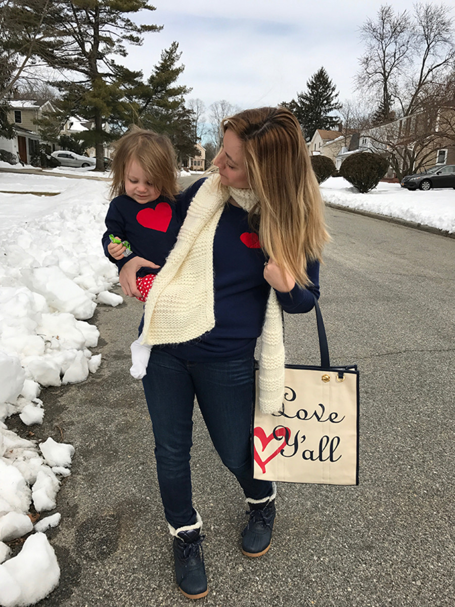 mommy and me heart sweaters