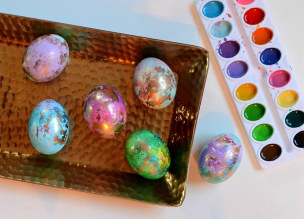 gilded watercolor easter eggs