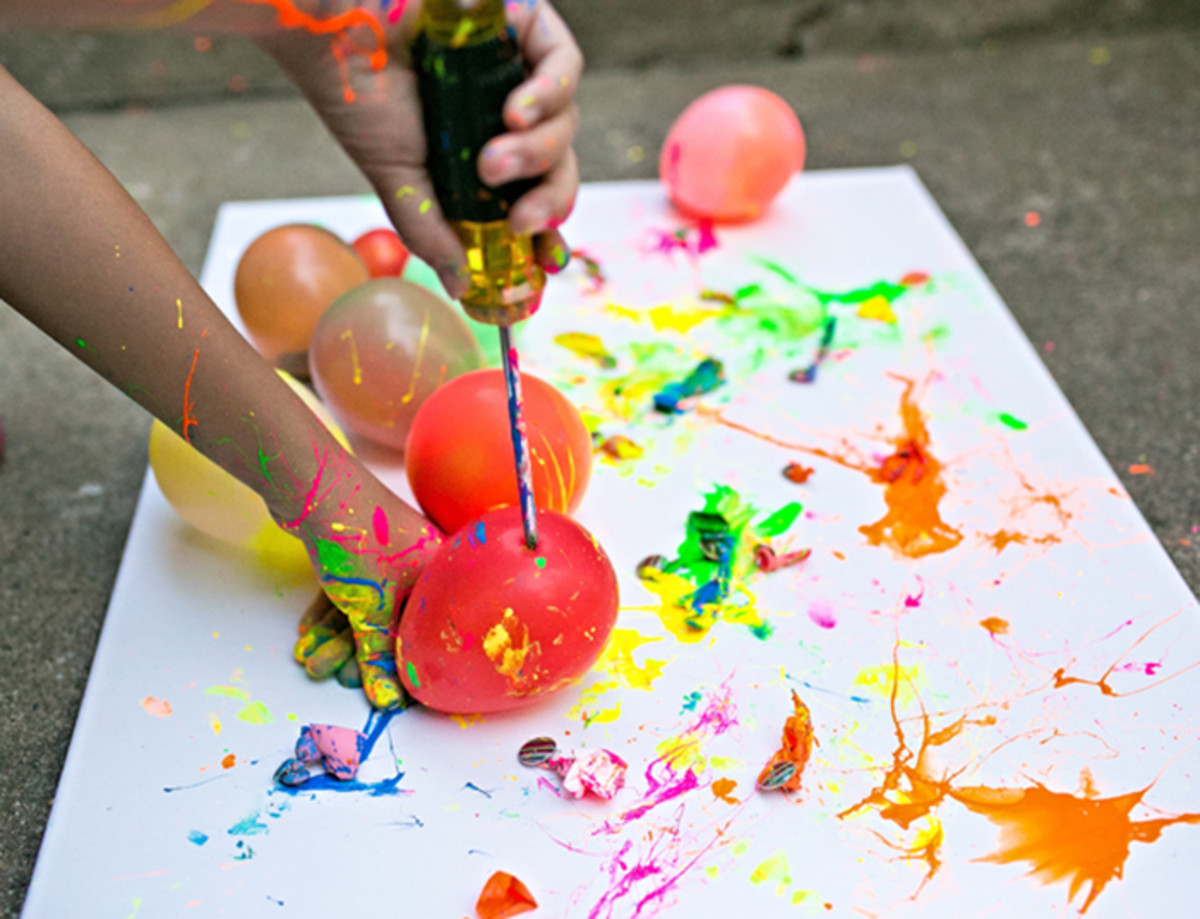 balloon splatter painting