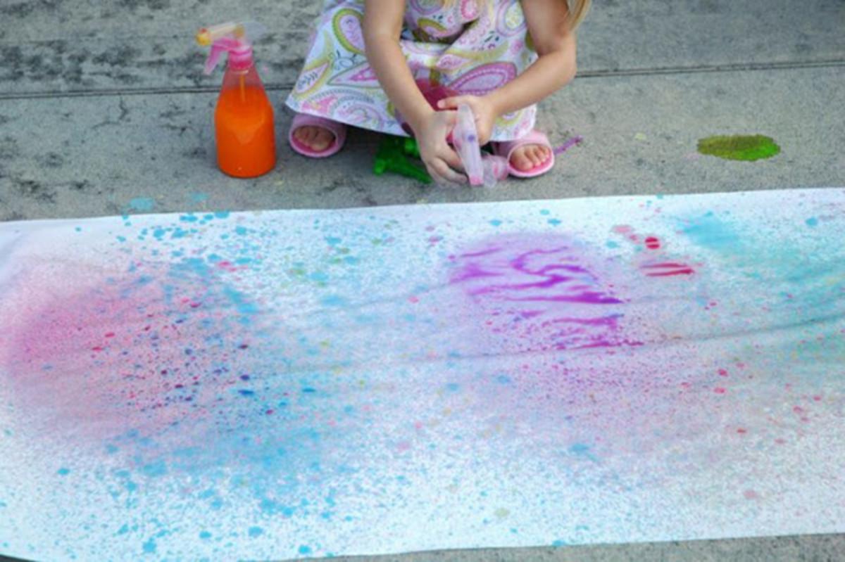 splatter spray sidewalk chalk spray via paper glue. Black Bedroom Furniture Sets. Home Design Ideas