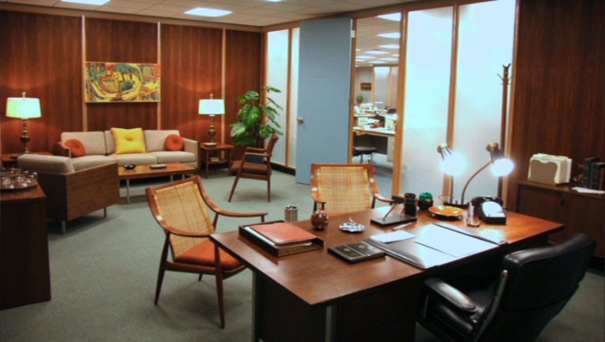 Don Draper's Office in AMC's Mad Men - Warm yet befitting of a 1960's Corporate Power Player