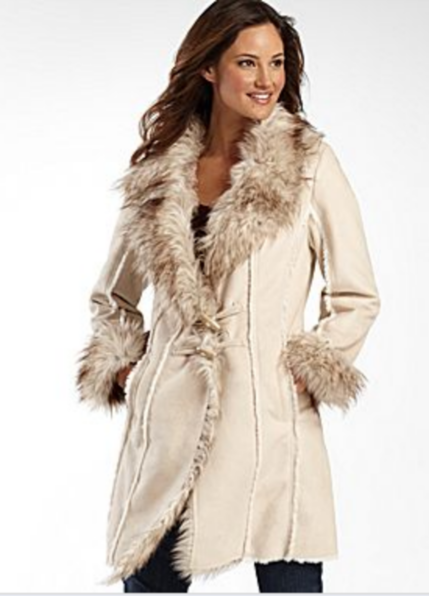 a.n.a Faux Shearling Lined Coat, Ivory, JCPenney