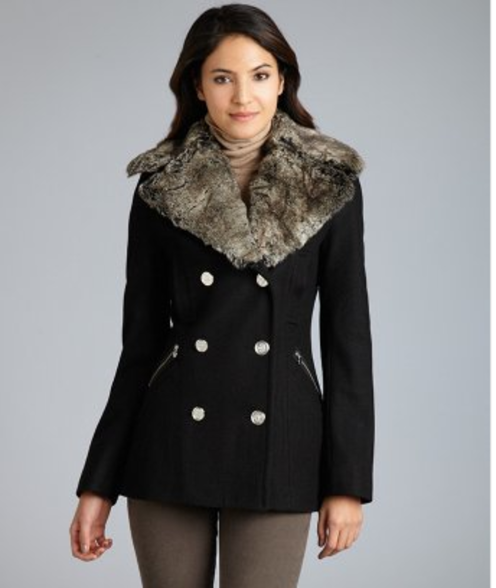 Laundry by Shelli Segal, Double Breasted Faux Fur Trimmed Jacket, Black Wool, Bluefly.com