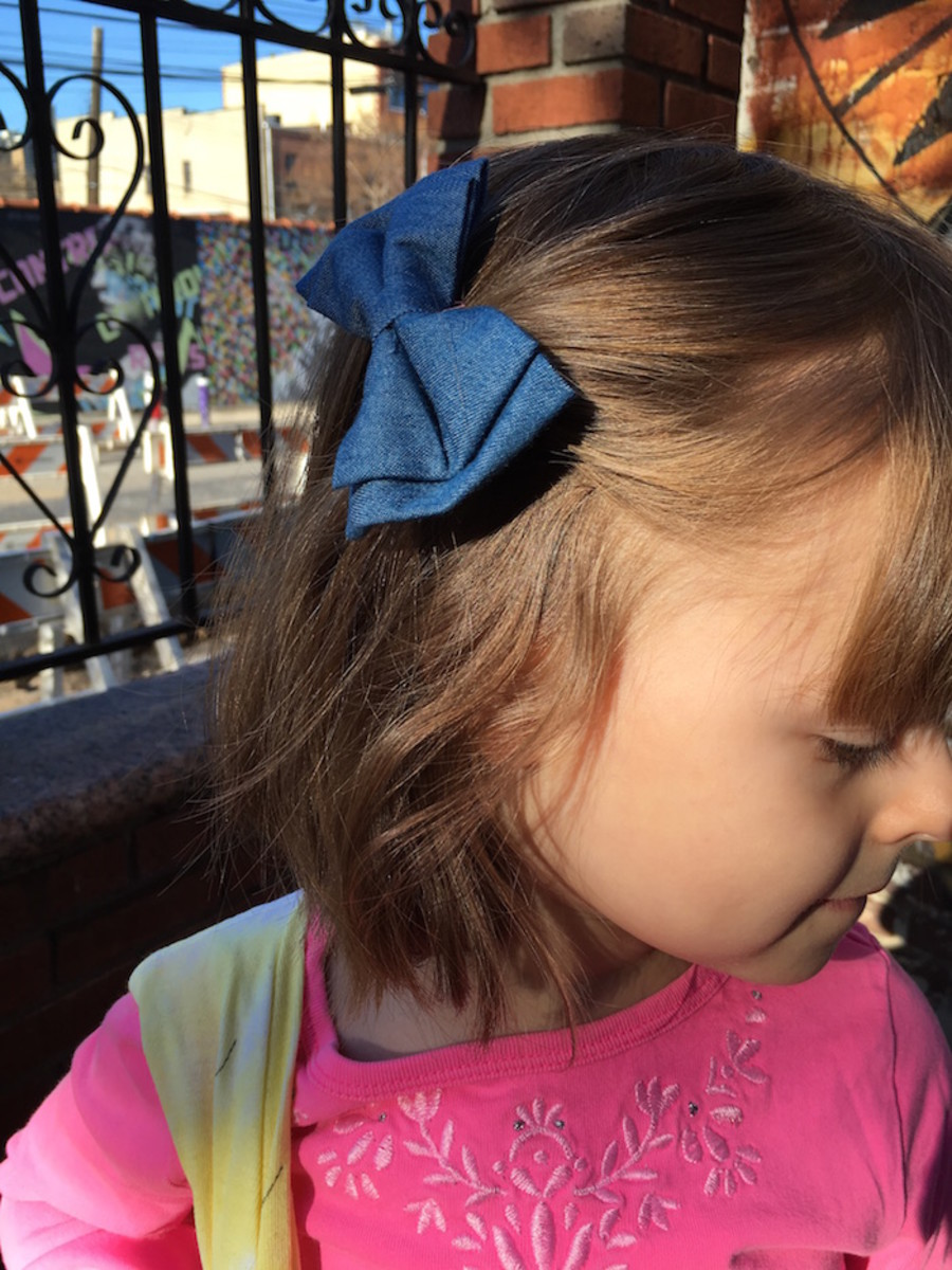 denim bow for girls