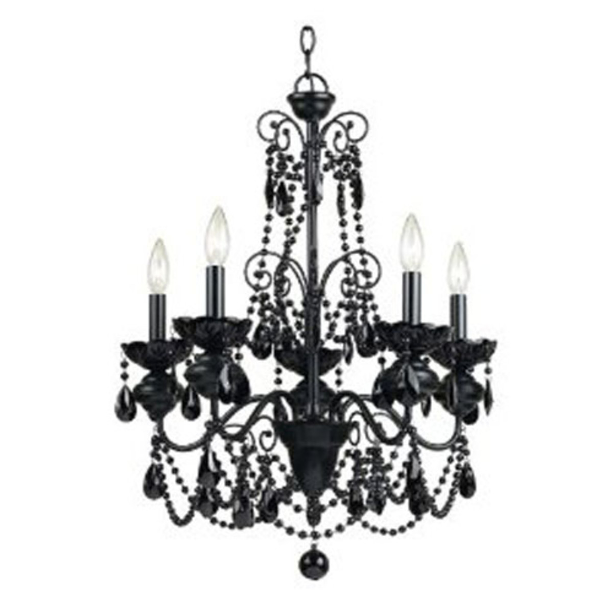 black chandelier would be unexpected and fresh in a pastel colored