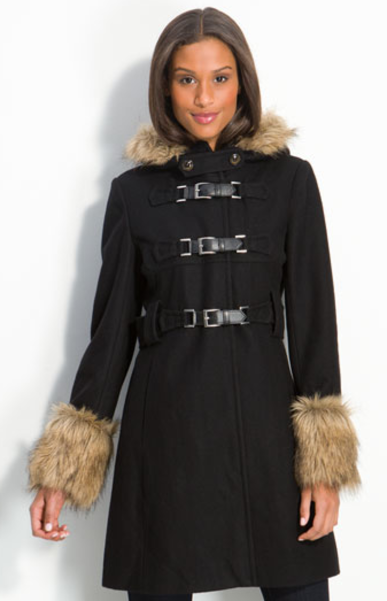 Kenneth Cole NY Hooded Coat with Faur Fur Trim