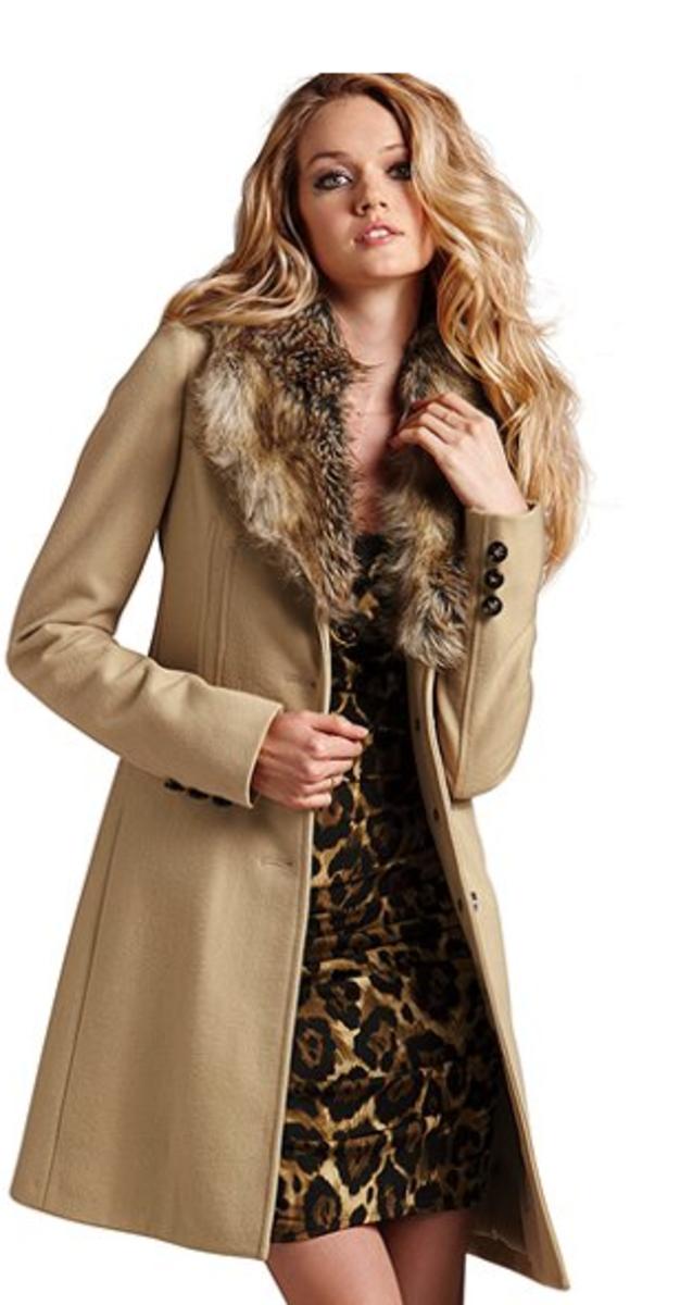 Faux Fur Collar Coat, Classic Camel, Victoria's Secret