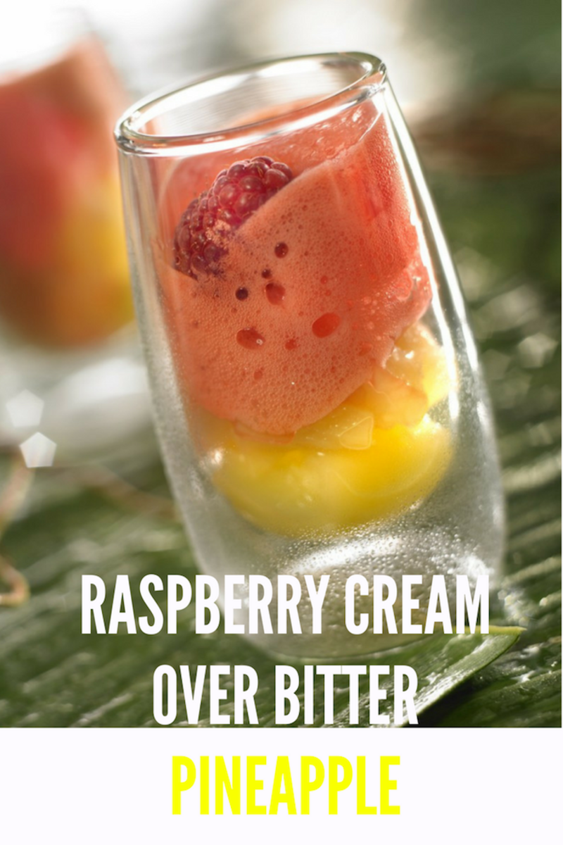 Raspberry Cream Over Bitter Pineapple, recipe perfect for dessert
