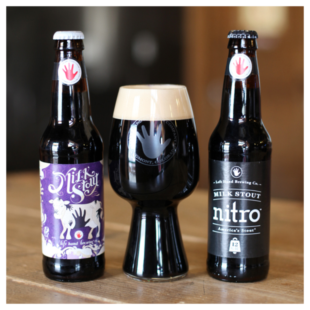 Left Hand & Spiegelau Stout Glass - Image FOR SHOP - with Milk Stouts