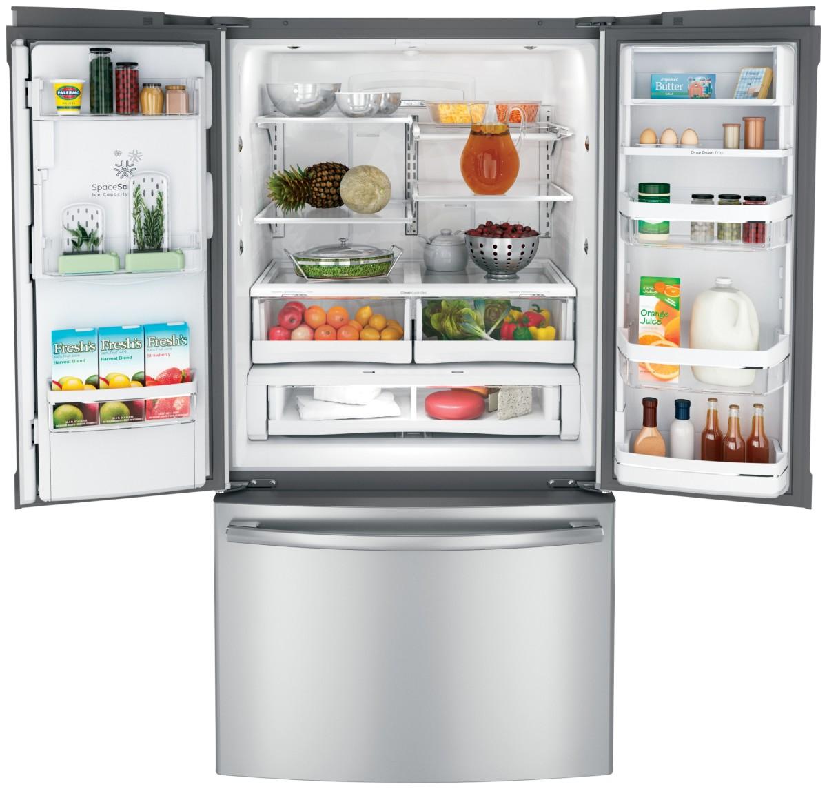 French Door Refrigerator Open