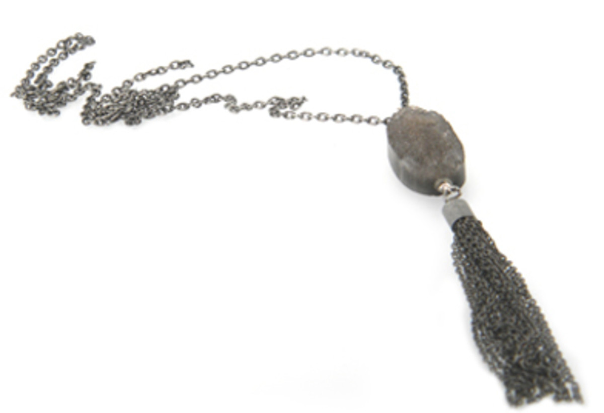 burnish silver tassle necklace