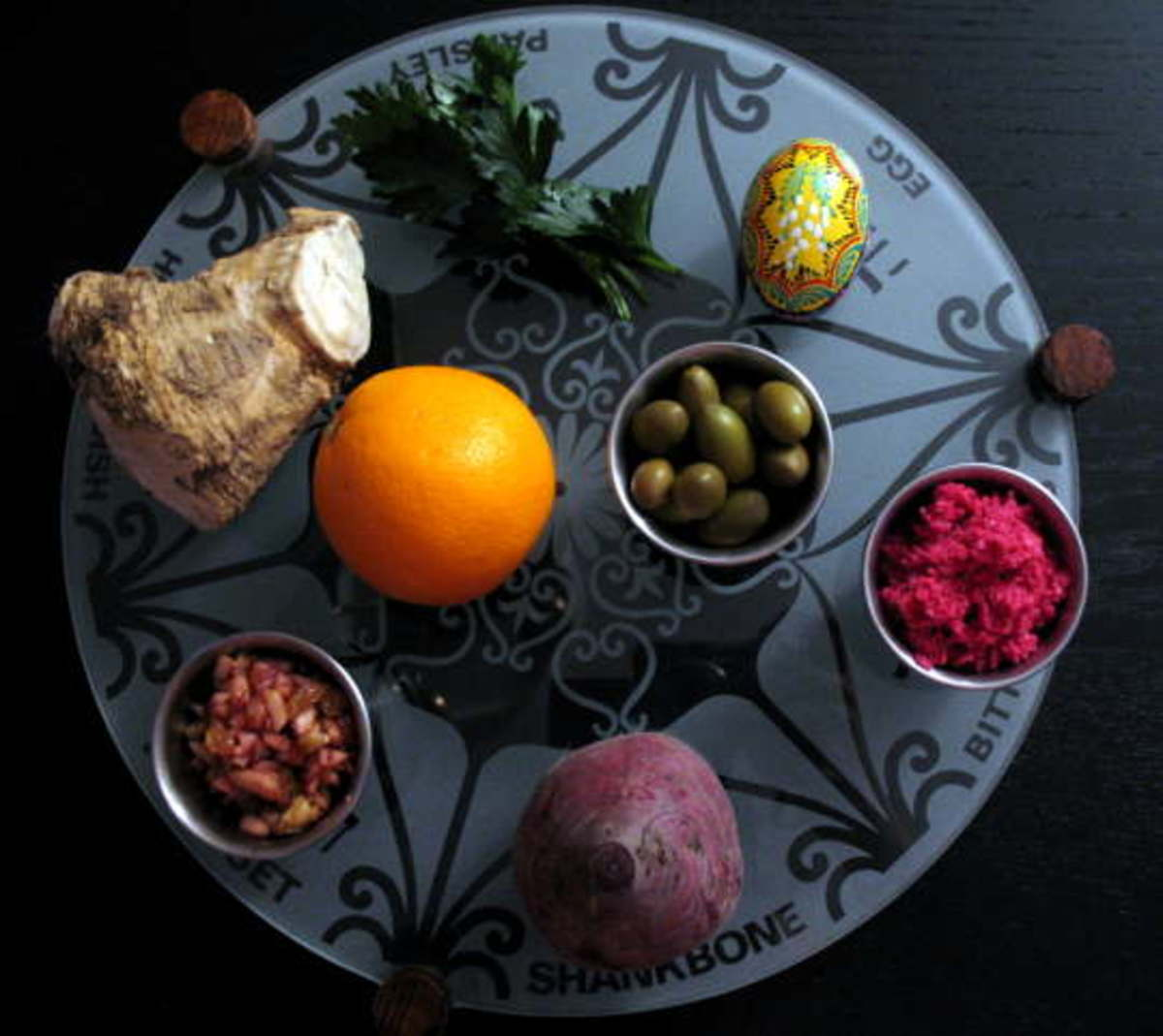 Non traditional seder plate with orange