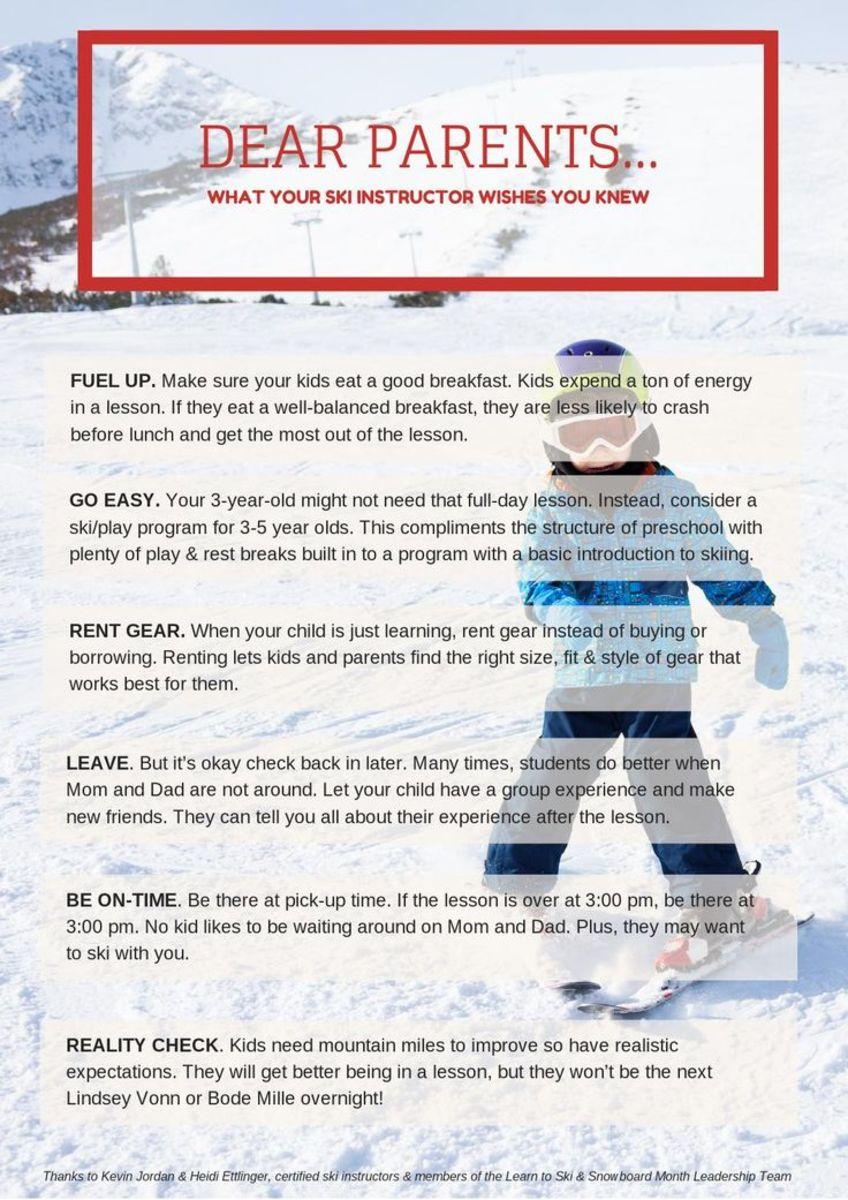 ski instructors advise parents