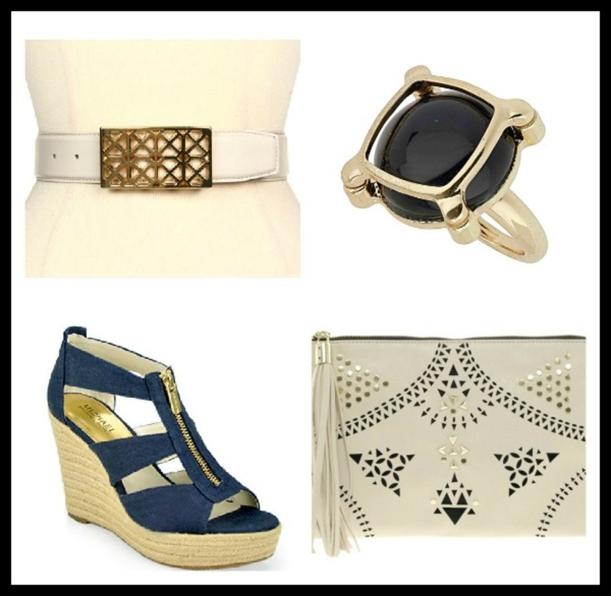 cut-out, cut-out clutch, cocktail ring, cut-out belt, espadrille wedge