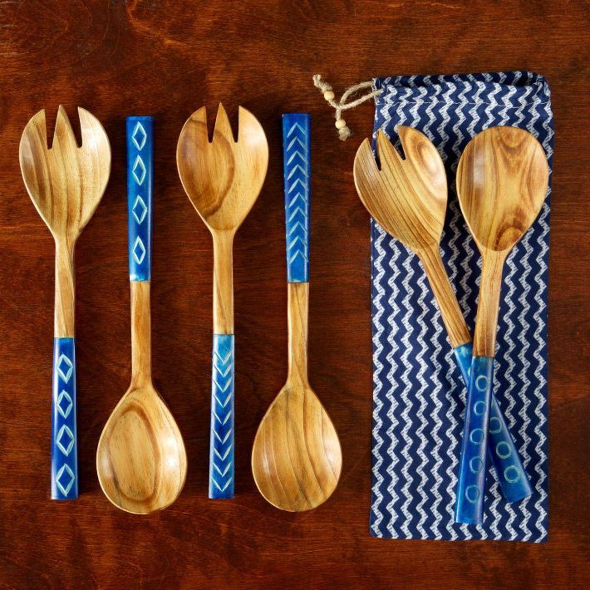 blue serving pieces