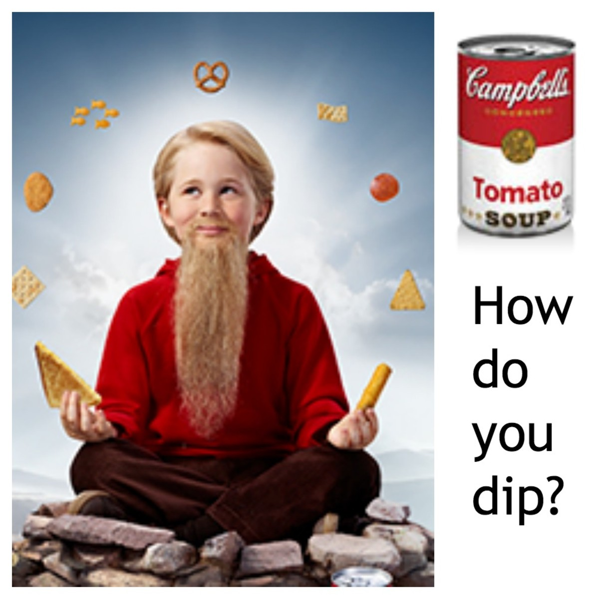 campbell's wisest kid, cream of tomato soup, dipable soup