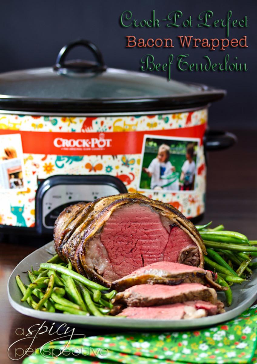 Crock-Pot Bacon Wrapped Tenderloin