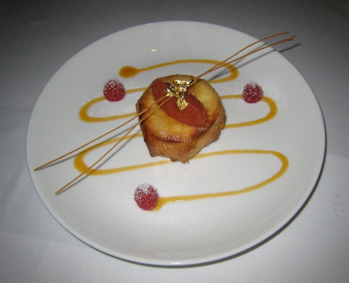 Phyllo crusted cheesecake with quince topping