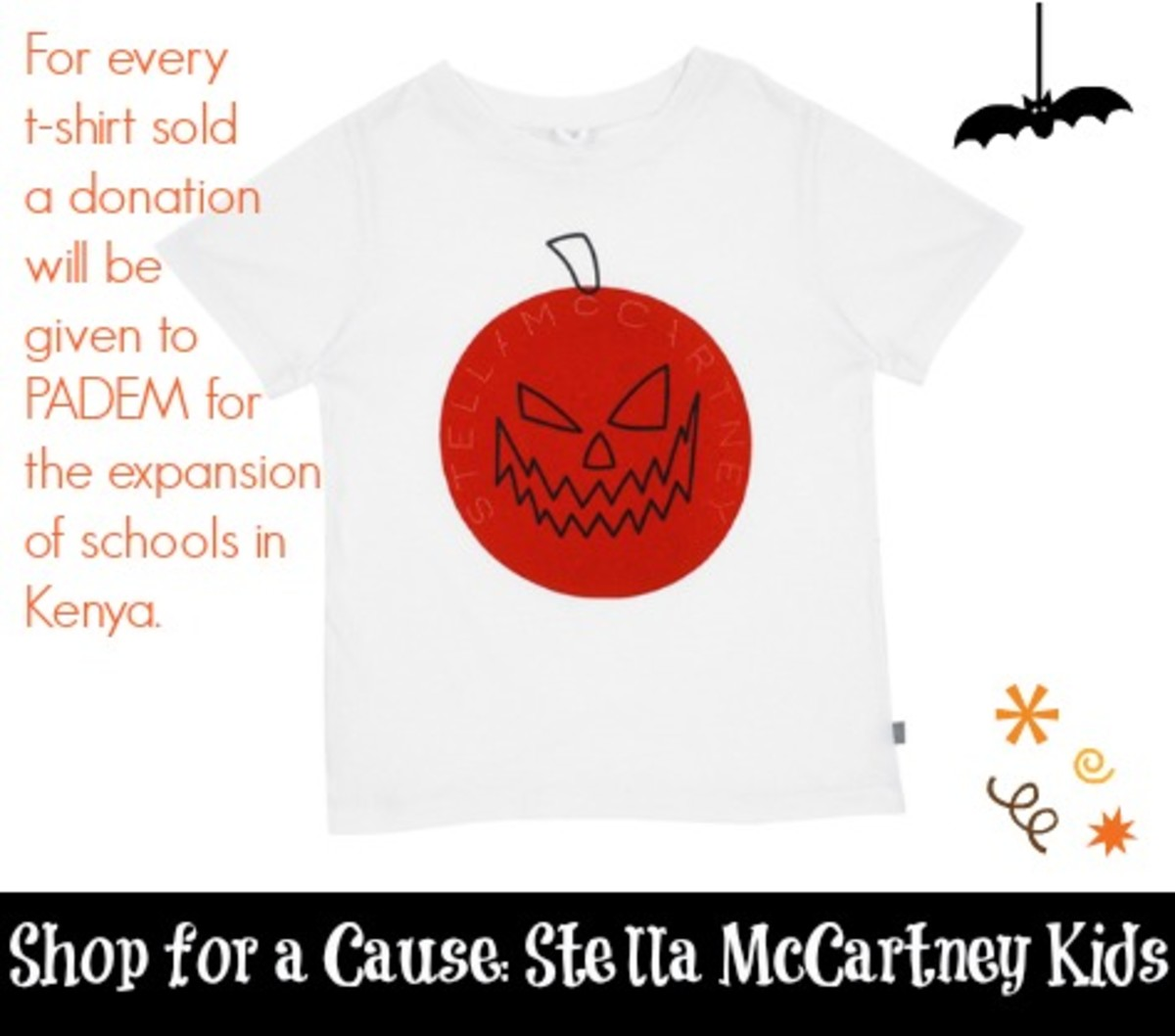 shop for a cause, stella mccartney kids, PADEM charity, halloween tee for kids