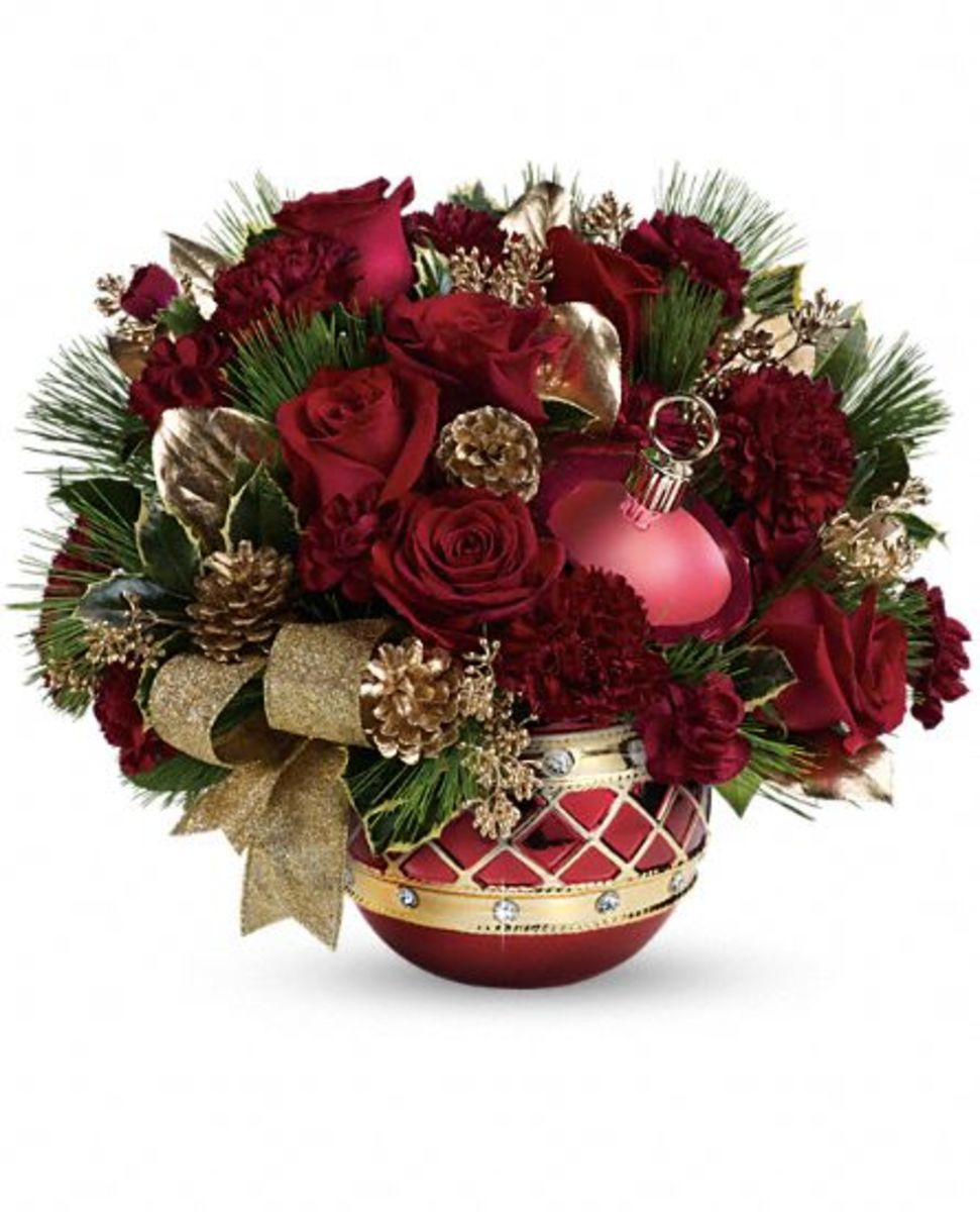 holiday ornament flower arrangement