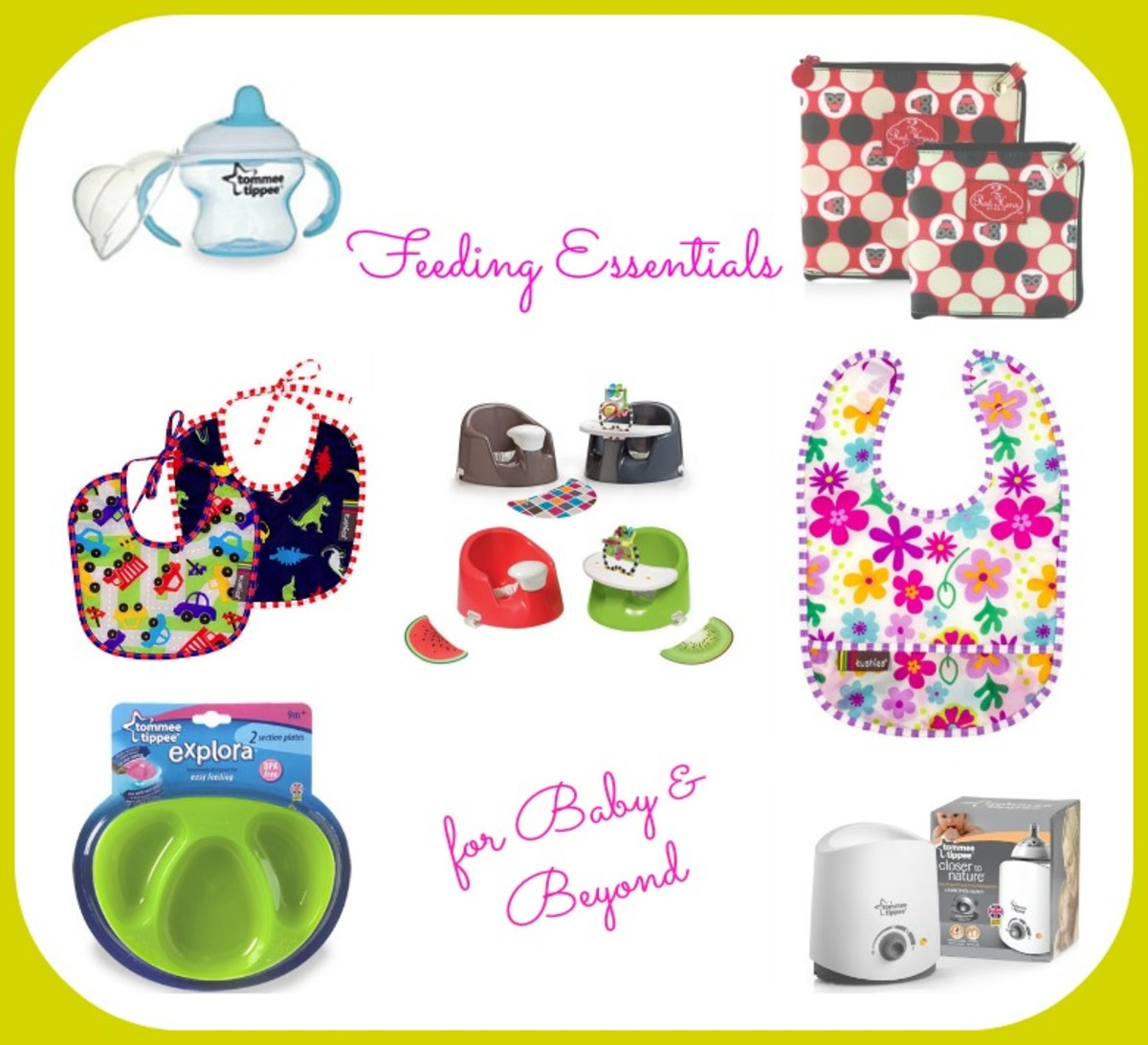 tommee tippe, kushies, bibs, bebe pod flex plus, 2 red hens, reusable snack bags, feeding baby