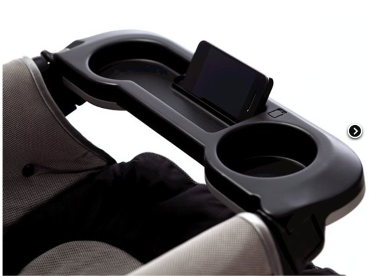 SmartTray provides a martphone viewing cradle &universal sippy cup holder