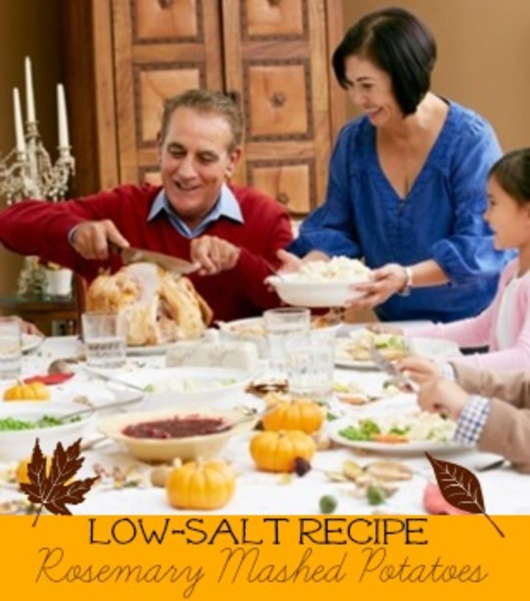 low salt recipes, healthy holiday recipes, rosemary mashed potatoes