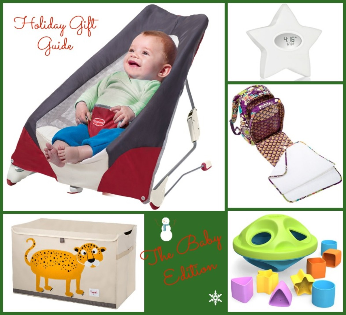 baby gift guide, vera bradley, tiny love, green toys, aden and anais, 3 sprouts, toy chest