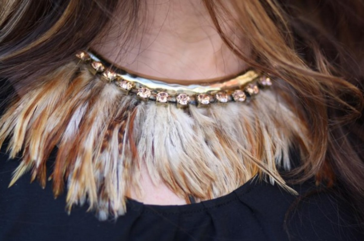 feathers, feather necklace, fall 2013 fashion trends, feather pieces