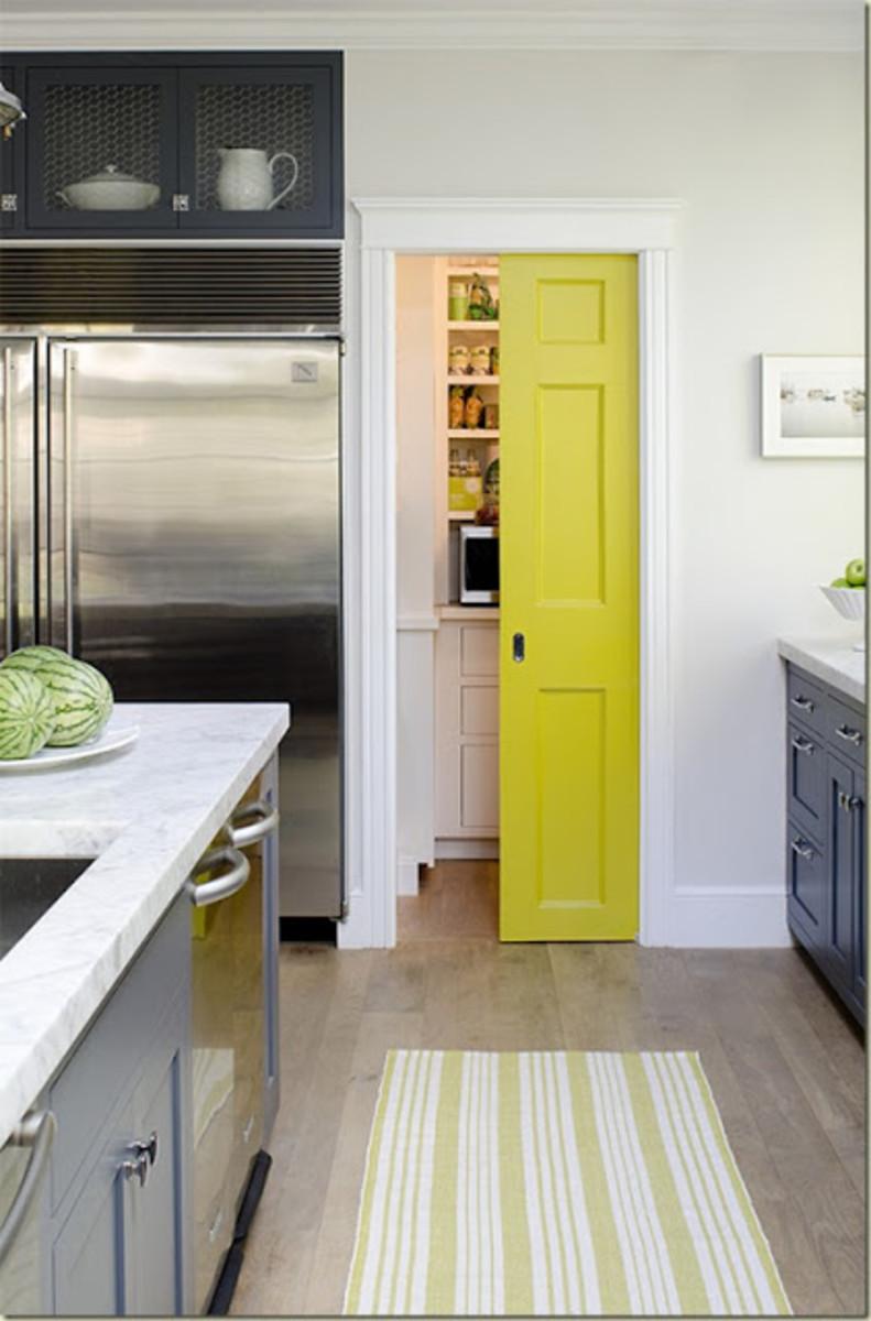 yellow pantry door