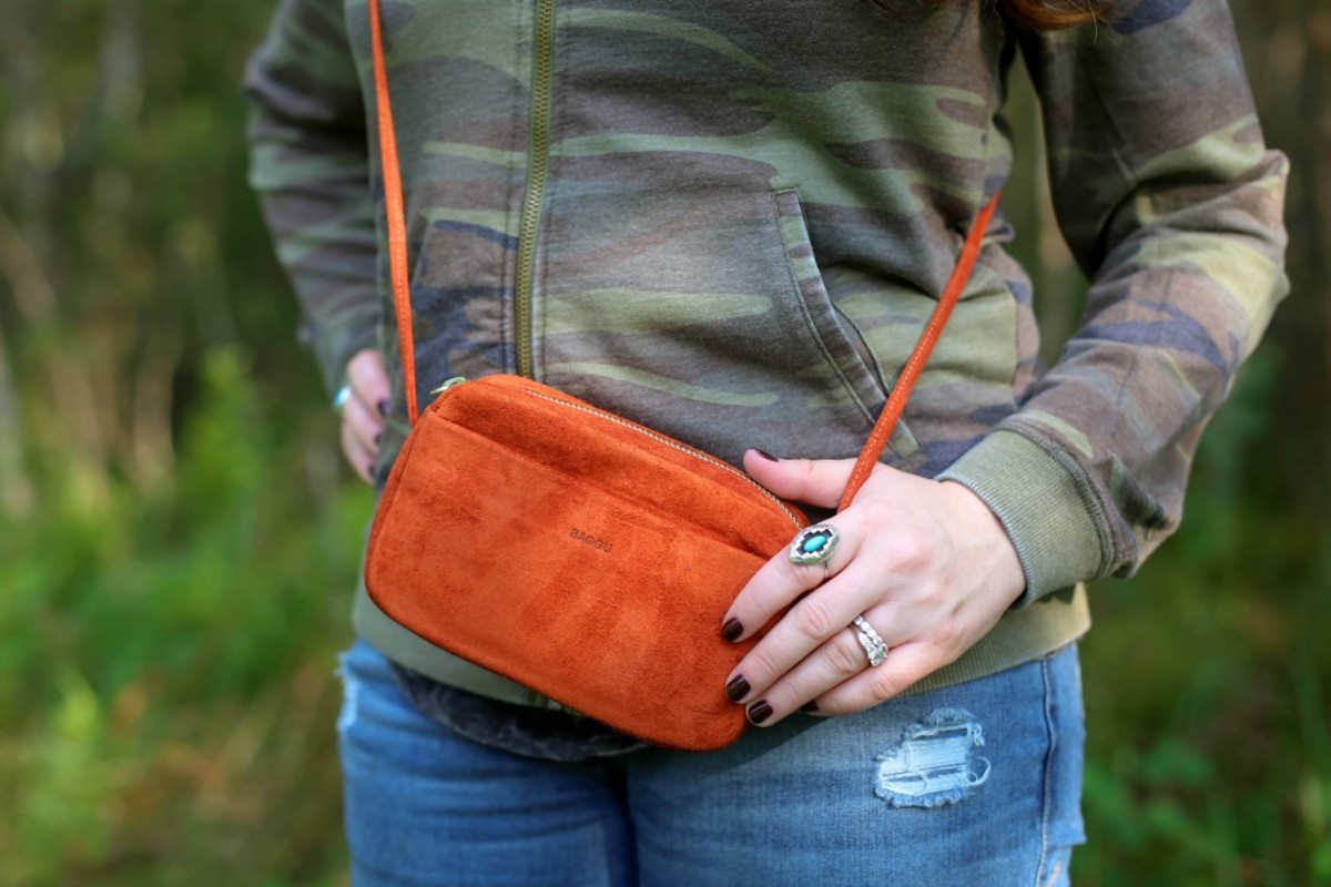 suede cross body bag look