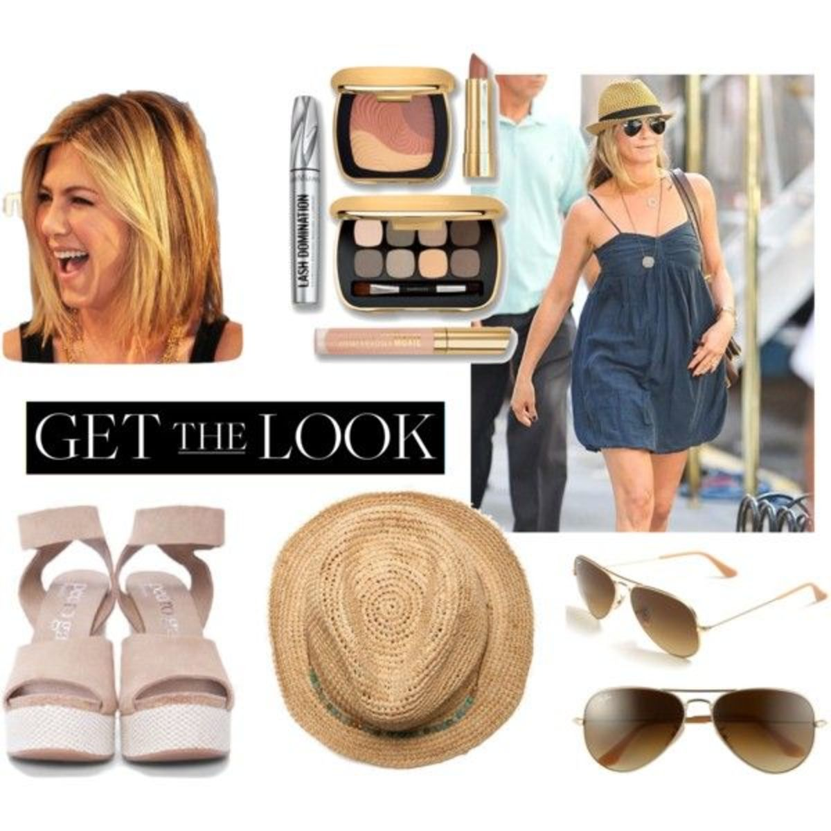 jennifer aniston, nude lip, celebrity beauty trends, bare minerals, wedges, aviators, polyvore, jennifer aniston in NYC