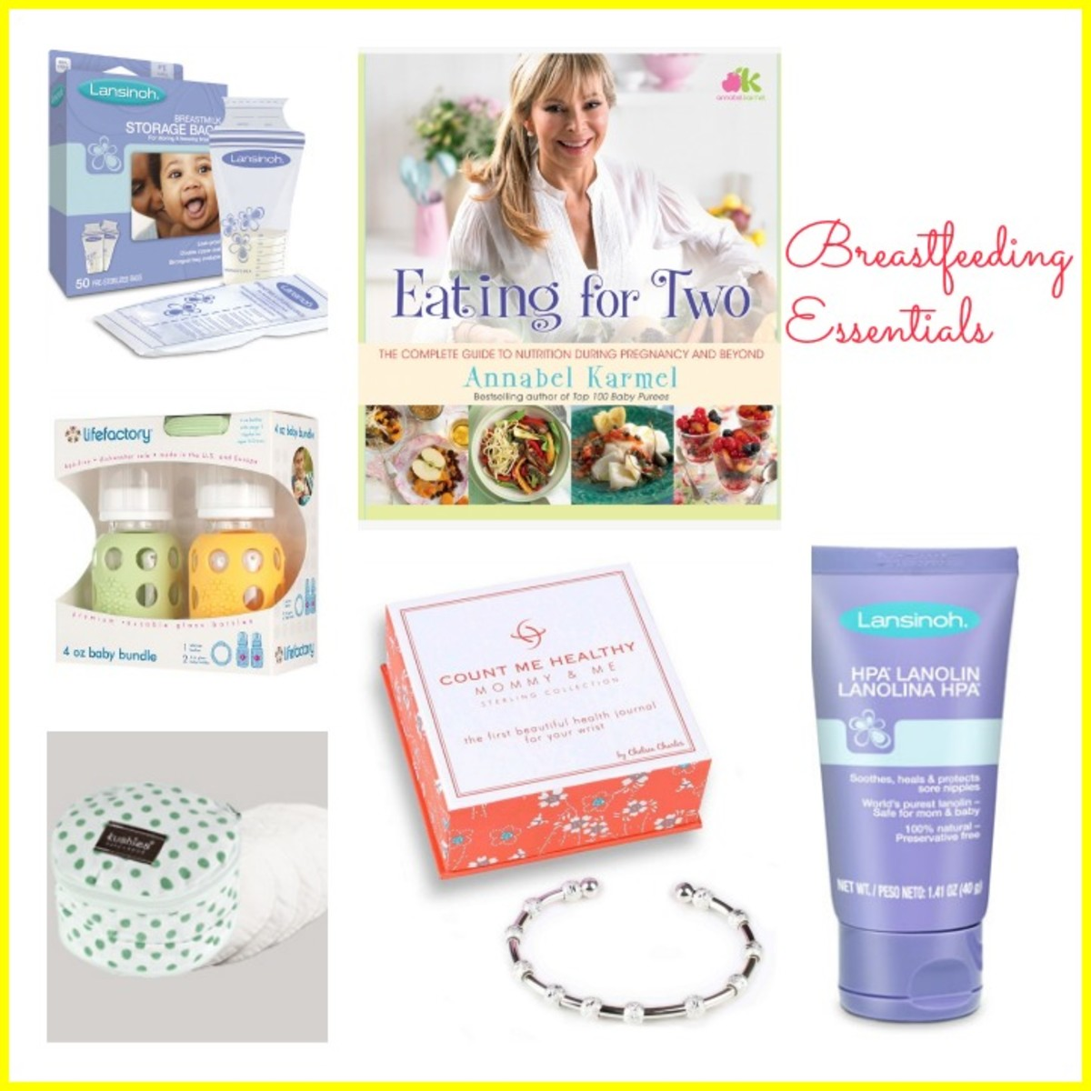 breastfeeding essentials, lansinoh, annabel Karmel, lifefactory, kushies, count me healthy bracelets,