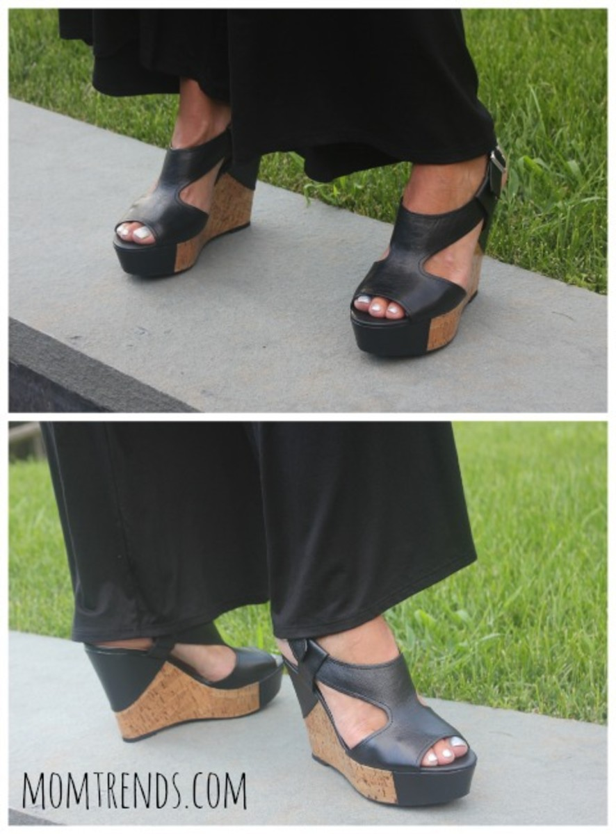 cute black wedge sandals, fashion, monday mingle. style, style for moms, what to wear with a jumpsuit