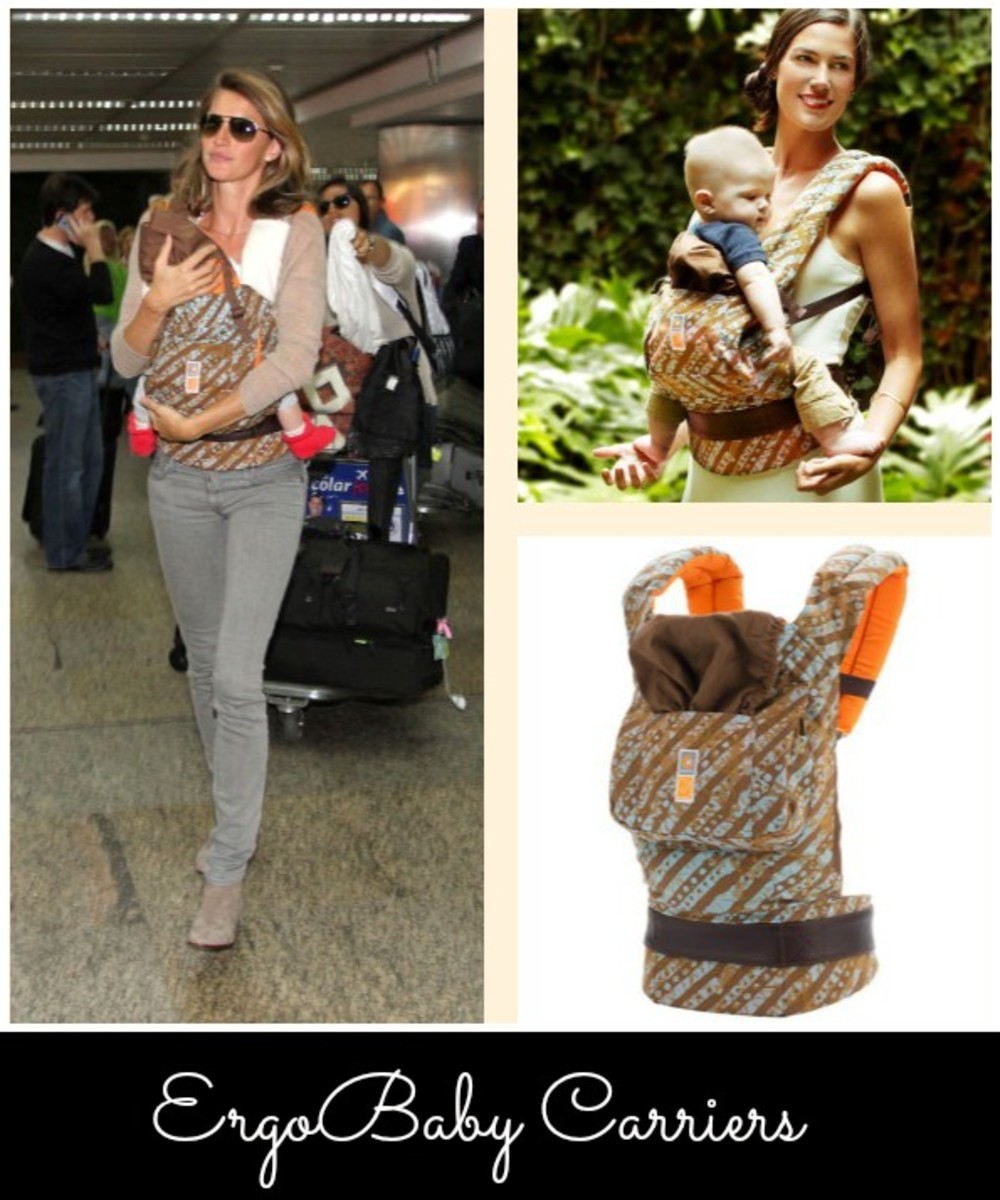 Gisele wears a ErgoBaby Carrier