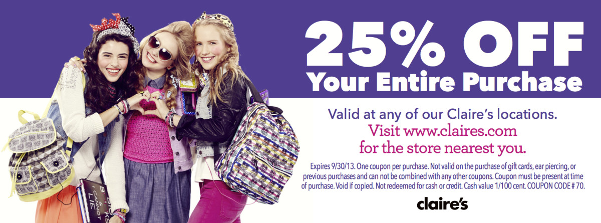 claire's 25% off coupon