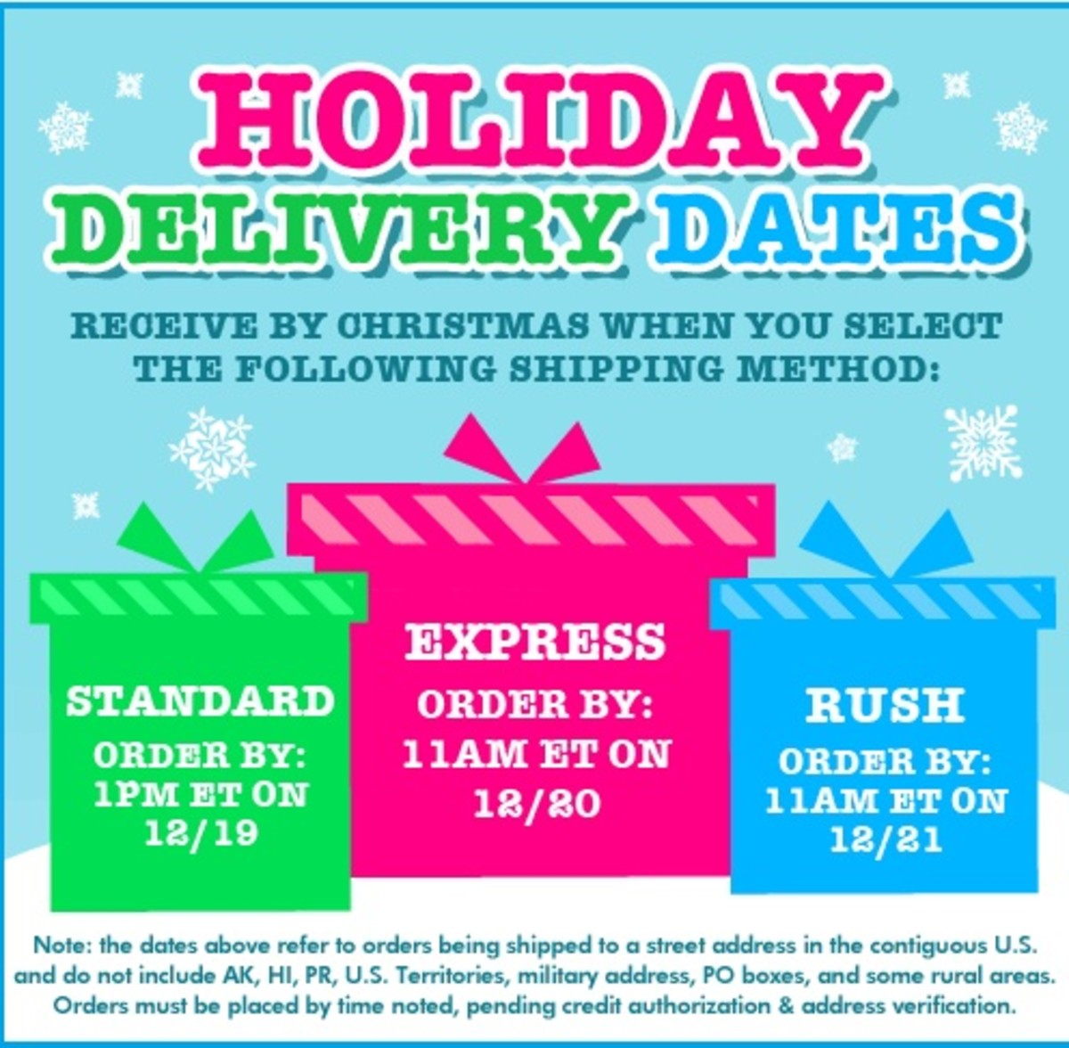 cp holiday ship dates