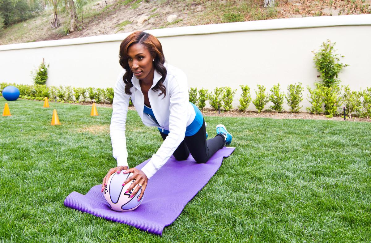 Lisa Yoga with Basketball