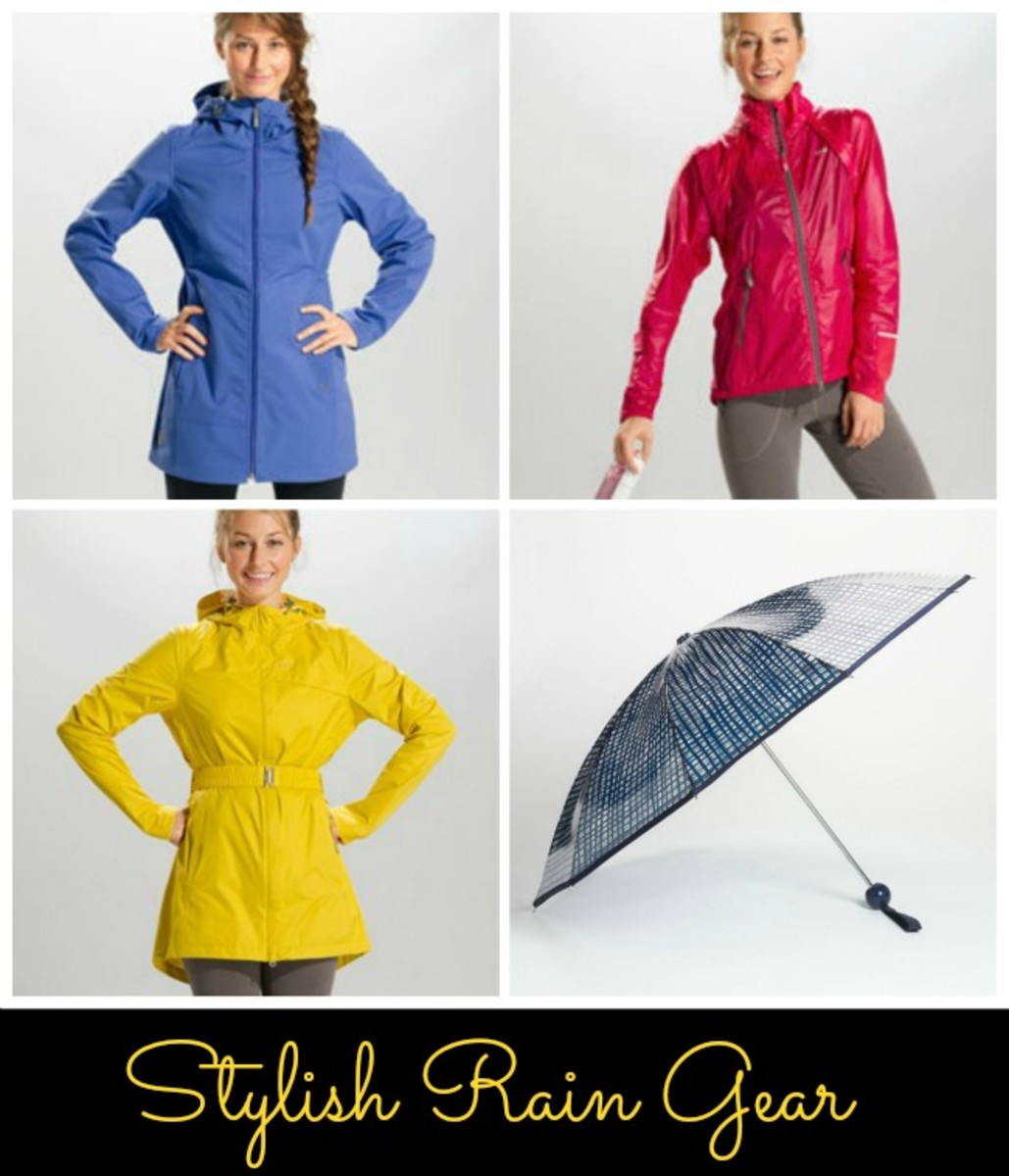rain coats, rain jackets, umbrellas, stylish rain gear, april showers, bright jackets, printed umbrellas, lole, k-way, marc jacobs