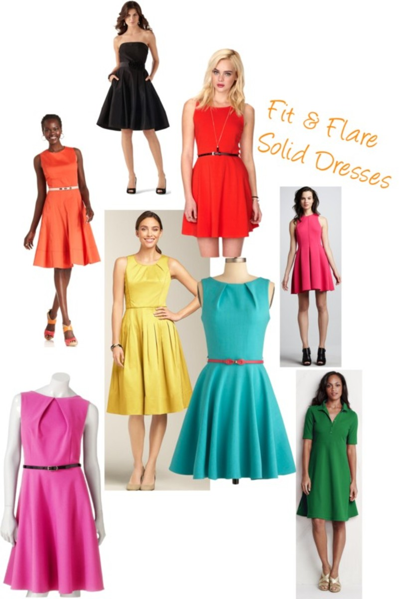 Solid Fit & Flare dresses