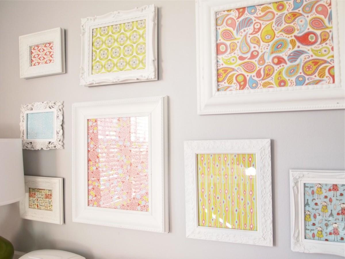 framed scrapbook paper in nursery